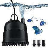 LERWAY Pompa per Acquario 40W Pompa Sommersa Pompa per Anfibi IP68 Impermeabile Pompa Acqua per Acquario Muto Pompa per Acquario per Fontana per Laghetto (2500L)