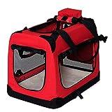 lionto by dibea Borsa trasportino per cani Scatola pieghevole per animali borsa per cani (M) 60x42x44 cm Rosso