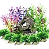 Vibury Pianta Piante Artificiali Acquario Kit, 13 Pezzi Ornamento Paesaggio Grotta Acquario Decoro per Acquario Decorazioni